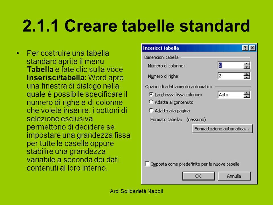 Arci Solidarietà Napoli 2.1.1 Creare tabelle standard Per costruire una tabella standard aprite il menu Tabella e fate clic sulla voce Inserisci/tabel