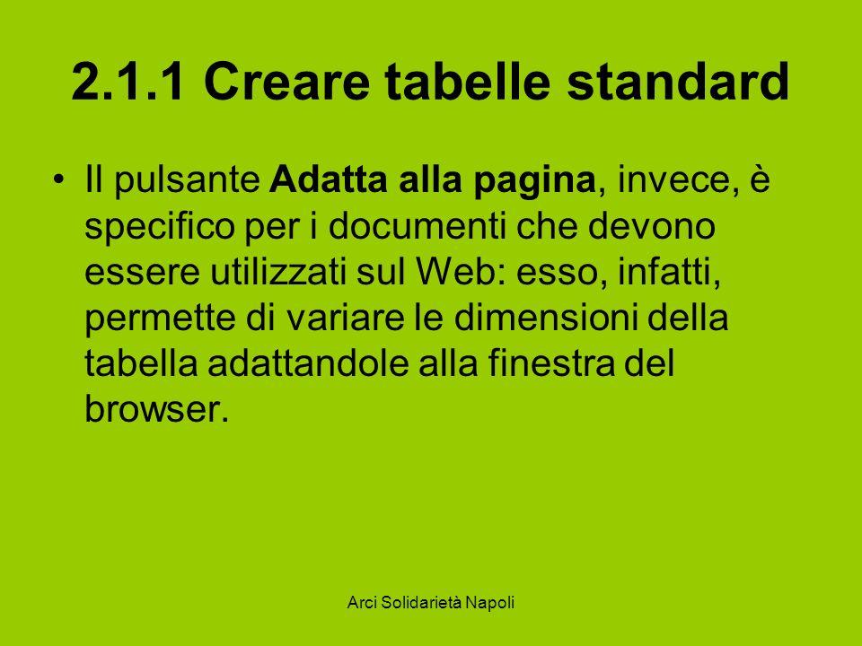 Arci Solidarietà Napoli 2.1.1 Creare tabelle standard Il pulsante Adatta alla pagina, invece, è specifico per i documenti che devono essere utilizzati sul Web: esso, infatti, permette di variare le dimensioni della tabella adattandole alla finestra del browser.