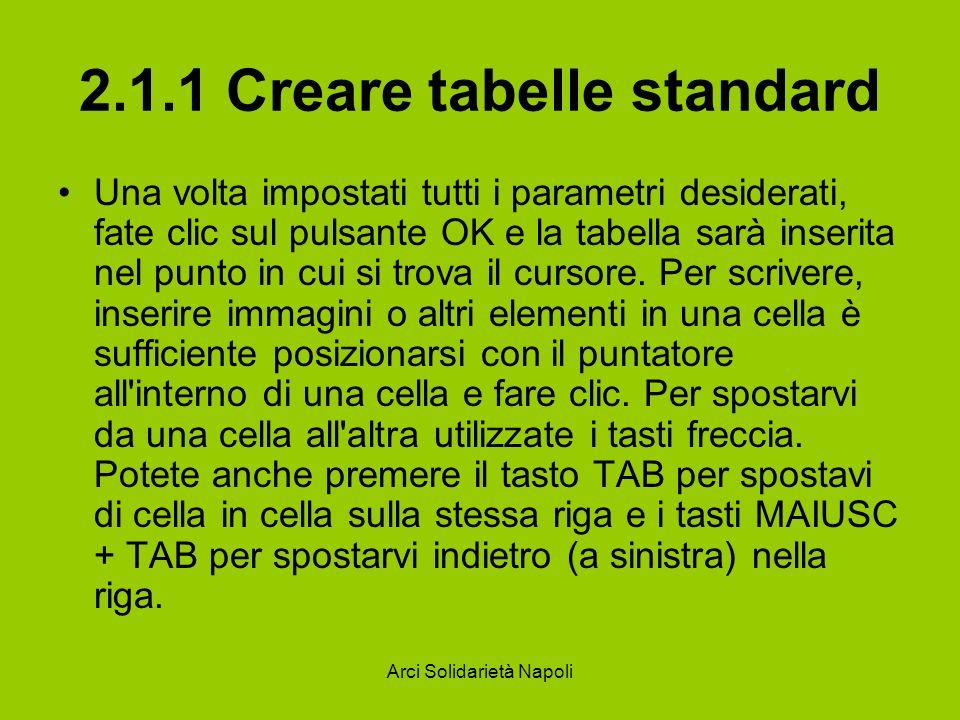 Arci Solidarietà Napoli 2.1.1 Creare tabelle standard Una volta impostati tutti i parametri desiderati, fate clic sul pulsante OK e la tabella sarà inserita nel punto in cui si trova il cursore.