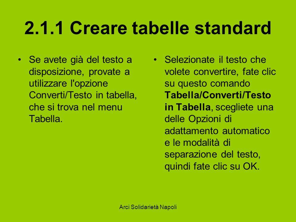 Arci Solidarietà Napoli 2.1.1 Creare tabelle standard Se avete già del testo a disposizione, provate a utilizzare l opzione Converti/Testo in tabella, che si trova nel menu Tabella.