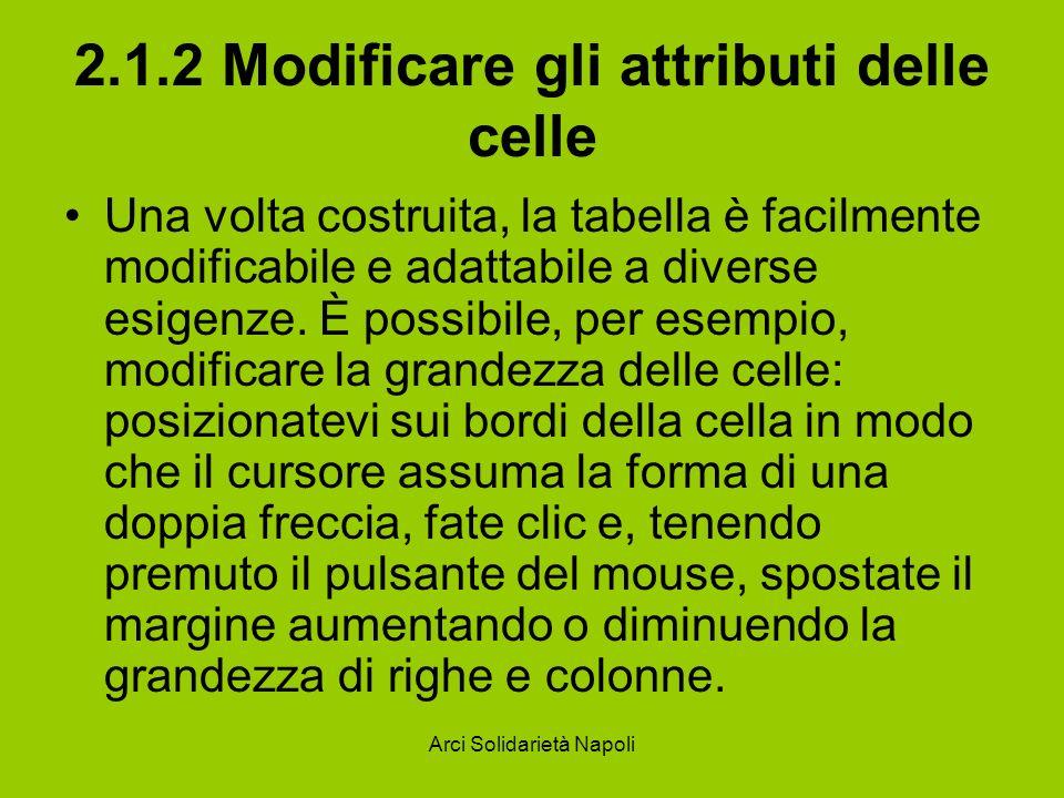 Arci Solidarietà Napoli 2.1.2 Modificare gli attributi delle celle Una volta costruita, la tabella è facilmente modificabile e adattabile a diverse es