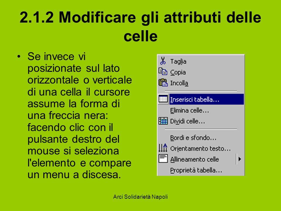 Arci Solidarietà Napoli 2.1.2 Modificare gli attributi delle celle Se invece vi posizionate sul lato orizzontale o verticale di una cella il cursore a