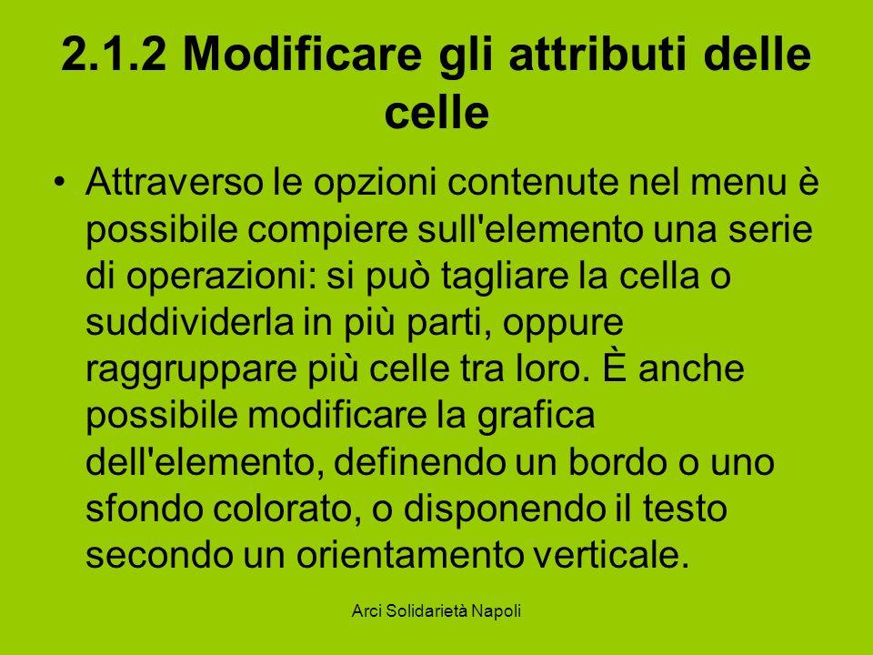 Arci Solidarietà Napoli 2.1.2 Modificare gli attributi delle celle Attraverso le opzioni contenute nel menu è possibile compiere sull elemento una serie di operazioni: si può tagliare la cella o suddividerla in più parti, oppure raggruppare più celle tra loro.