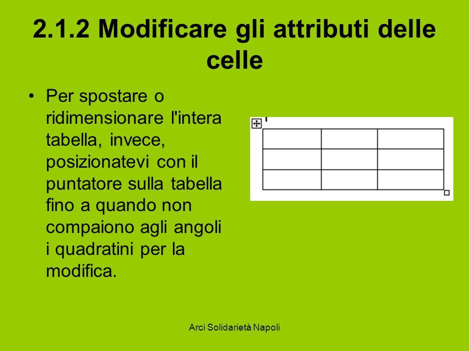 Arci Solidarietà Napoli 2.1.2 Modificare gli attributi delle celle Per spostare o ridimensionare l intera tabella, invece, posizionatevi con il puntatore sulla tabella fino a quando non compaiono agli angoli i quadratini per la modifica.