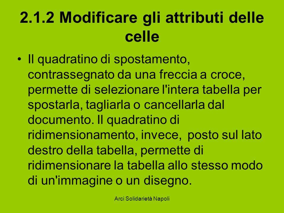 Arci Solidarietà Napoli 2.1.2 Modificare gli attributi delle celle Il quadratino di spostamento, contrassegnato da una freccia a croce, permette di selezionare l intera tabella per spostarla, tagliarla o cancellarla dal documento.