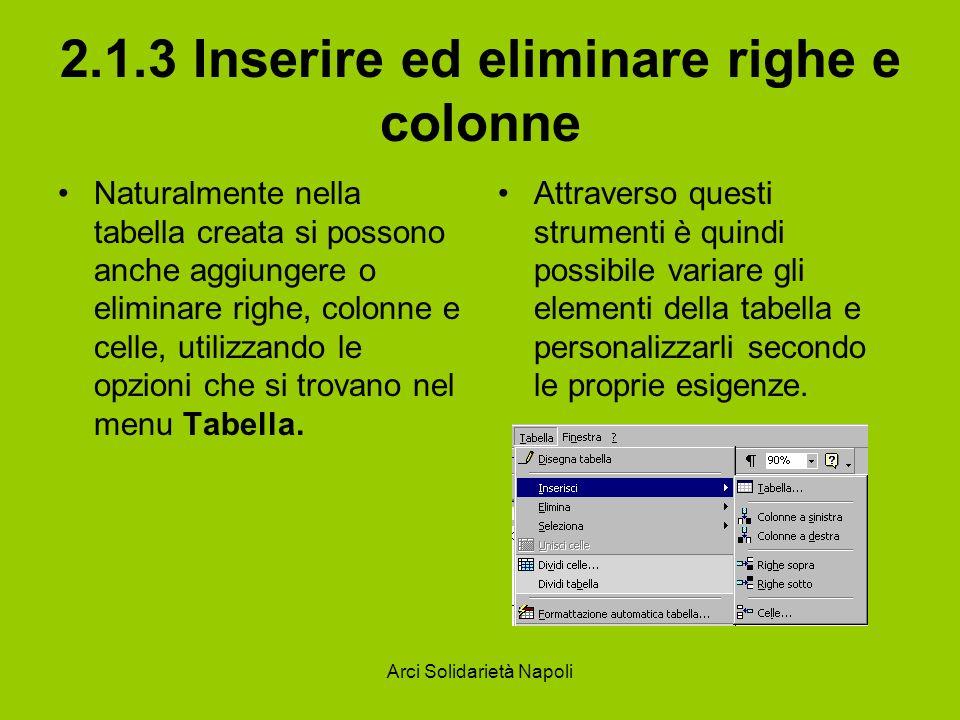Arci Solidarietà Napoli 2.1.3 Inserire ed eliminare righe e colonne Naturalmente nella tabella creata si possono anche aggiungere o eliminare righe, colonne e celle, utilizzando le opzioni che si trovano nel menu Tabella.