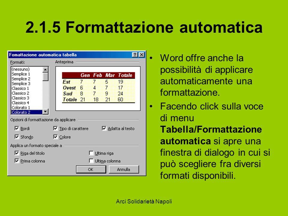 Arci Solidarietà Napoli 2.1.5 Formattazione automatica Word offre anche la possibilità di applicare automaticamente una formattazione. Facendo click s