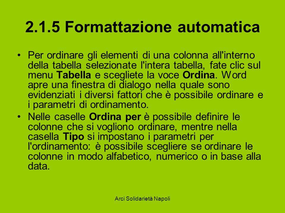 Arci Solidarietà Napoli 2.1.5 Formattazione automatica Per ordinare gli elementi di una colonna all interno della tabella selezionate l intera tabella, fate clic sul menu Tabella e scegliete la voce Ordina.