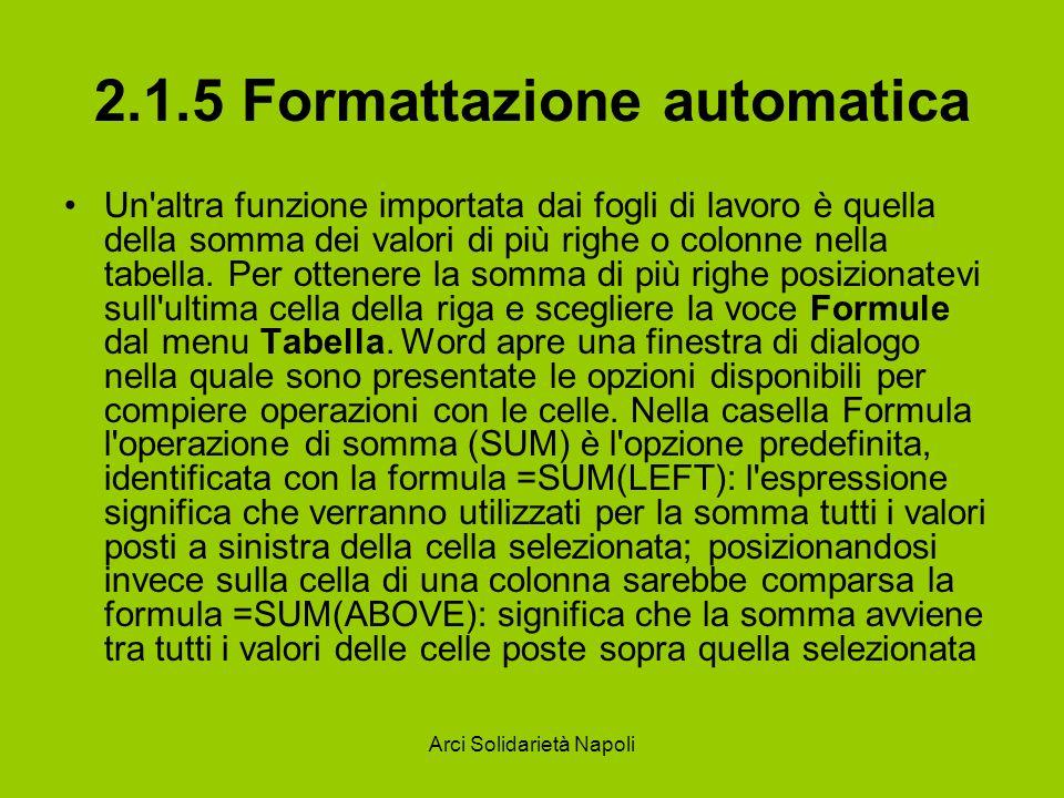 Arci Solidarietà Napoli 2.1.5 Formattazione automatica Un'altra funzione importata dai fogli di lavoro è quella della somma dei valori di più righe o