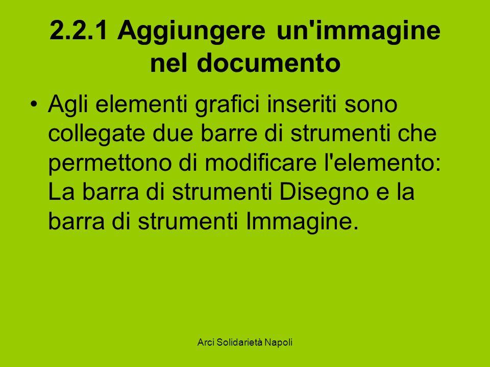 Arci Solidarietà Napoli 2.2.1 Aggiungere un'immagine nel documento Agli elementi grafici inseriti sono collegate due barre di strumenti che permettono