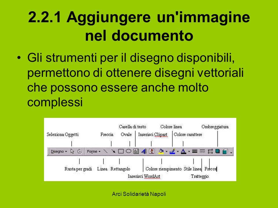 Arci Solidarietà Napoli 2.2.1 Aggiungere un'immagine nel documento Gli strumenti per il disegno disponibili, permettono di ottenere disegni vettoriali