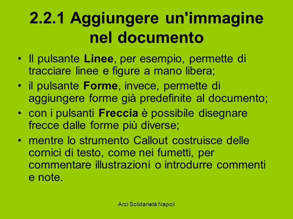 Arci Solidarietà Napoli 2.2.1 Aggiungere un'immagine nel documento Il pulsante Linee, per esempio, permette di tracciare linee e figure a mano libera;