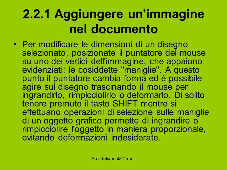 Arci Solidarietà Napoli 2.2.1 Aggiungere un'immagine nel documento Per modificare le dimensioni di un disegno selezionato, posizionate il puntatore de