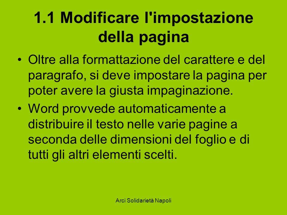 Arci Solidarietà Napoli 1.1 Modificare l'impostazione della pagina Oltre alla formattazione del carattere e del paragrafo, si deve impostare la pagina