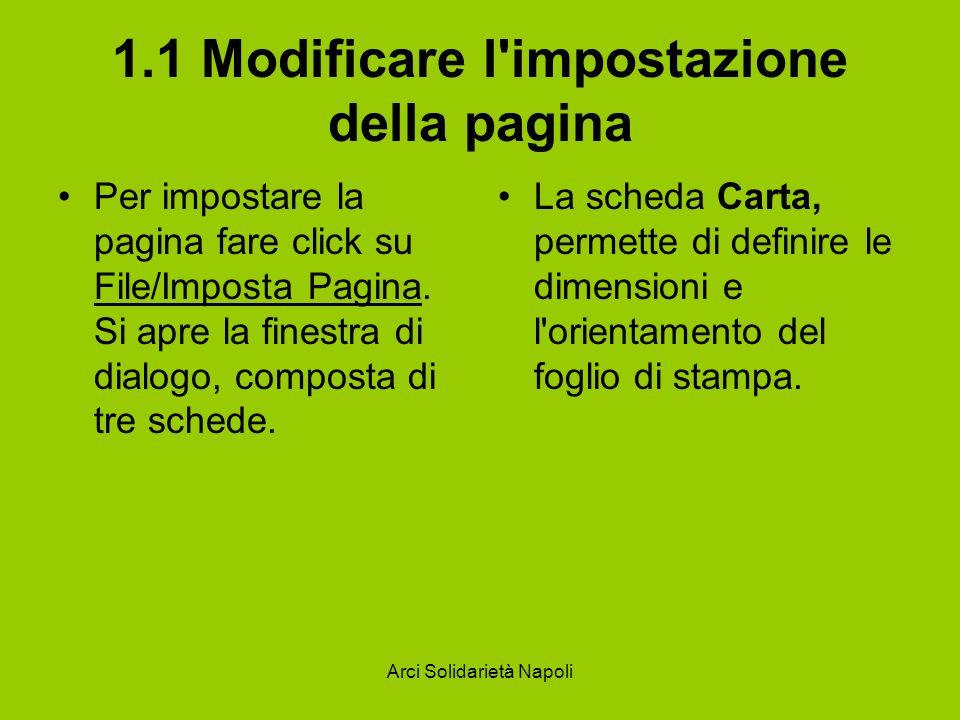 Arci Solidarietà Napoli 1.1 Modificare l'impostazione della pagina Per impostare la pagina fare click su File/Imposta Pagina. Si apre la finestra di d