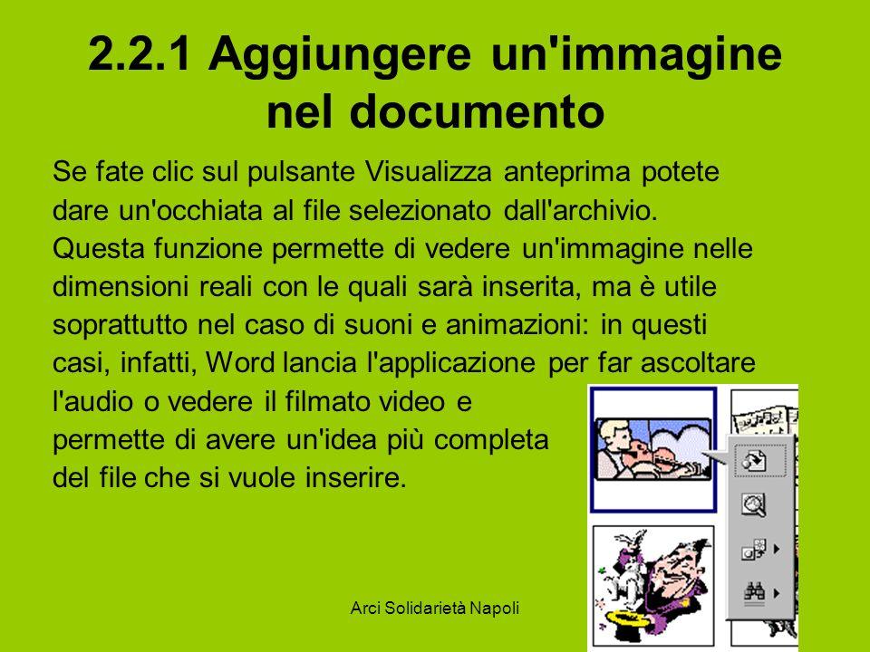 Arci Solidarietà Napoli 2.2.1 Aggiungere un immagine nel documento Se fate clic sul pulsante Visualizza anteprima potete dare un occhiata al file selezionato dall archivio.