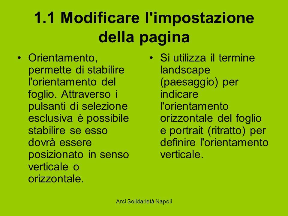 Arci Solidarietà Napoli 1.1 Modificare l'impostazione della pagina Orientamento, permette di stabilire l'orientamento del foglio. Attraverso i pulsant