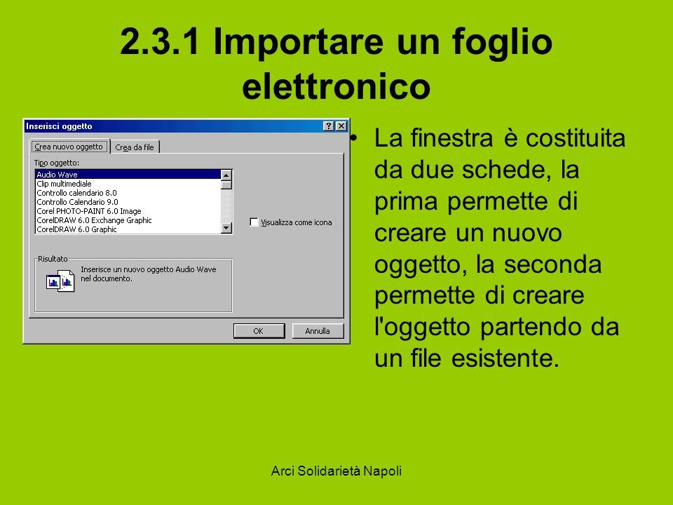 Arci Solidarietà Napoli 2.3.1 Importare un foglio elettronico La finestra è costituita da due schede, la prima permette di creare un nuovo oggetto, la