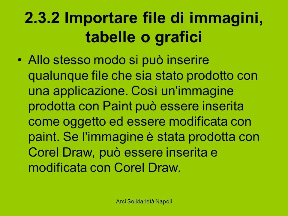 Arci Solidarietà Napoli 2.3.2 Importare file di immagini, tabelle o grafici Allo stesso modo si può inserire qualunque file che sia stato prodotto con una applicazione.