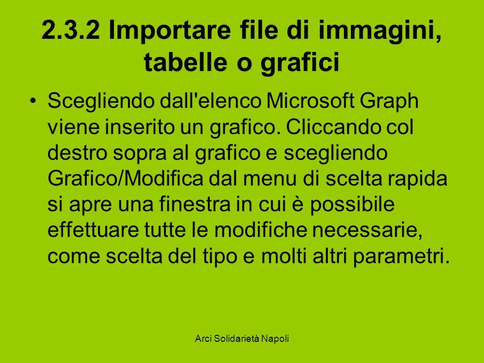 Arci Solidarietà Napoli 2.3.2 Importare file di immagini, tabelle o grafici Scegliendo dall'elenco Microsoft Graph viene inserito un grafico. Cliccand