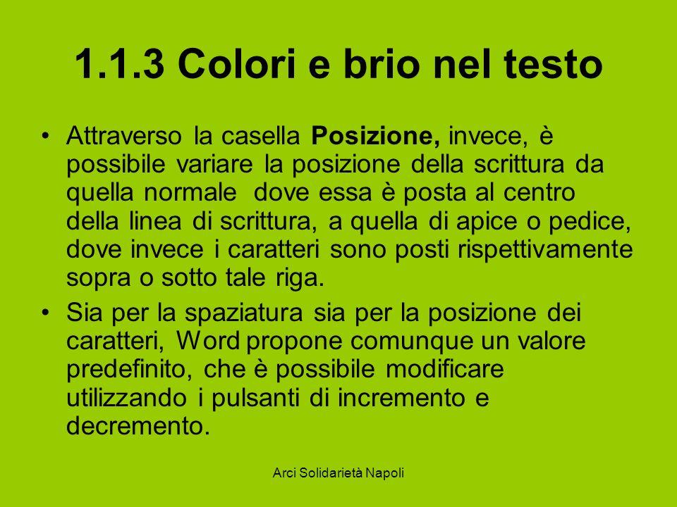 Arci Solidarietà Napoli 1.1.3 Colori e brio nel testo Attraverso la casella Posizione, invece, è possibile variare la posizione della scrittura da que