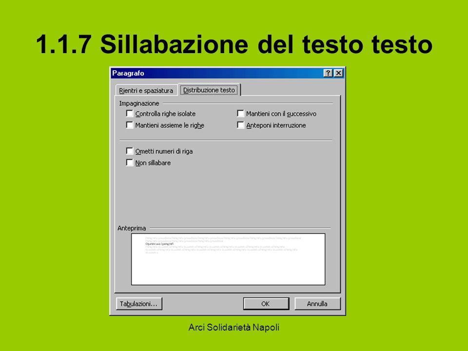 Arci Solidarietà Napoli 1.1.7 Sillabazione del testo testo