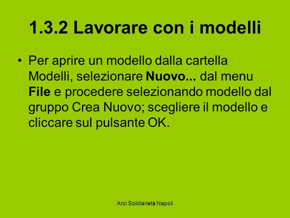 Arci Solidarietà Napoli 1.3.2 Lavorare con i modelli Per aprire un modello dalla cartella Modelli, selezionare Nuovo... dal menu File e procedere sele