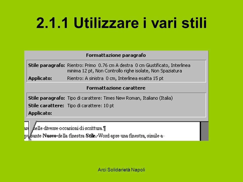 Arci Solidarietà Napoli 2.1.1 Utilizzare i vari stili Per avere l elenco completo e la possibilità di modificare o creare stili, aprire il menu Formato/Stli...
