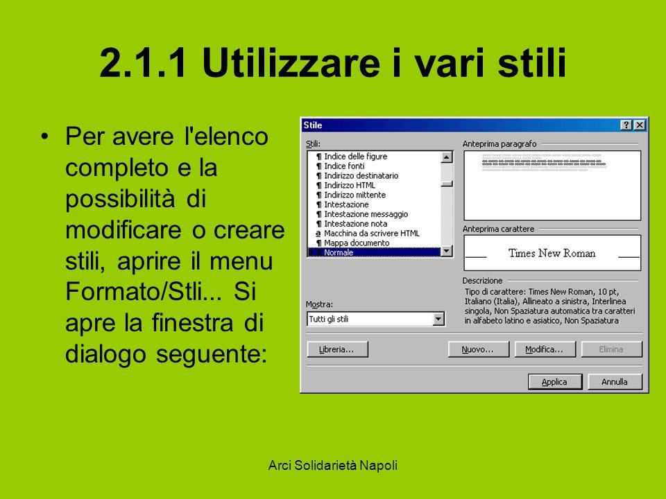 Arci Solidarietà Napoli 2.1.1 Utilizzare i vari stili Per avere l'elenco completo e la possibilità di modificare o creare stili, aprire il menu Format