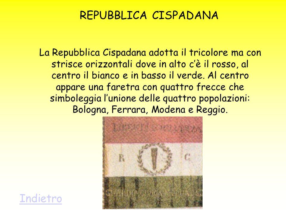 REPUBBLICA CISPADANA La Repubblica Cispadana adotta il tricolore ma con strisce orizzontali dove in alto cè il rosso, al centro il bianco e in basso i
