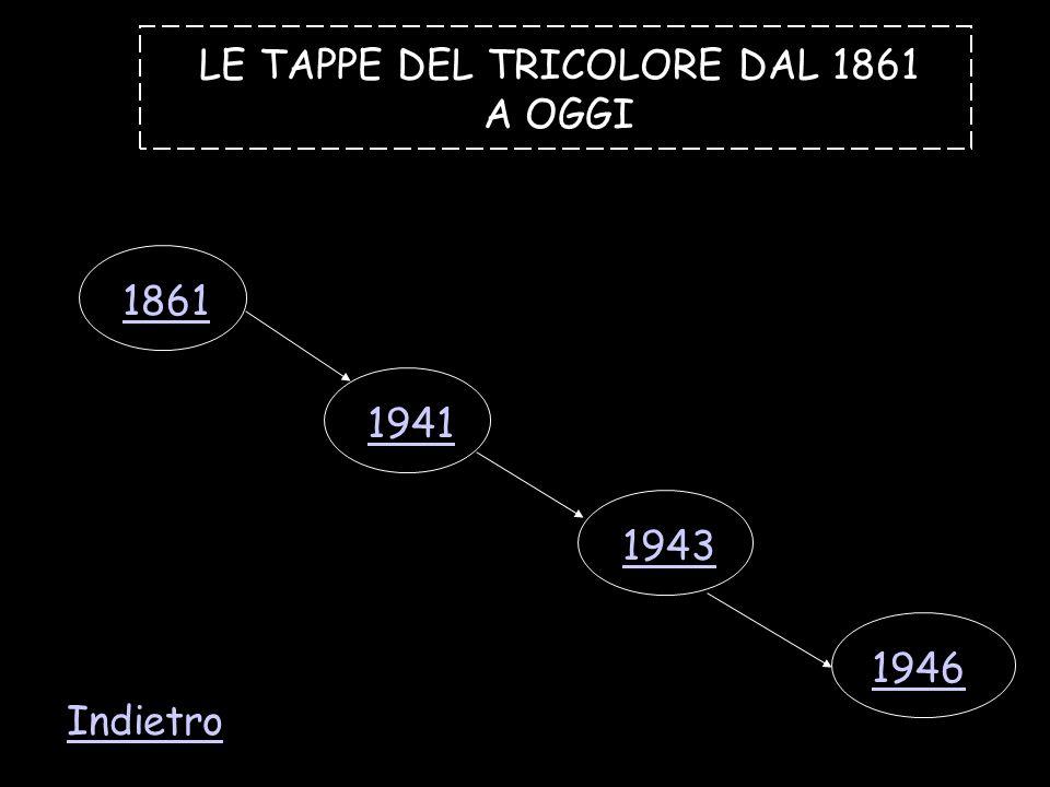 LE TAPPE DEL TRICOLORE DAL 1861 A OGGI 1861 1941 1943 1946 Indietro