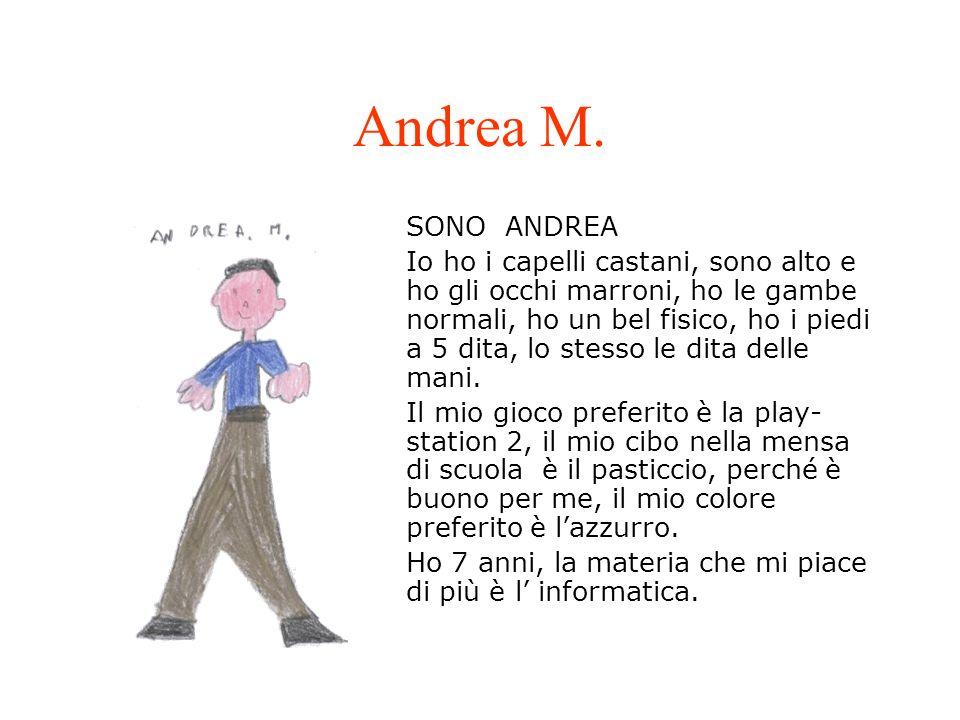 Andrea M. SONO ANDREA Io ho i capelli castani, sono alto e ho gli occhi marroni, ho le gambe normali, ho un bel fisico, ho i piedi a 5 dita, lo stesso