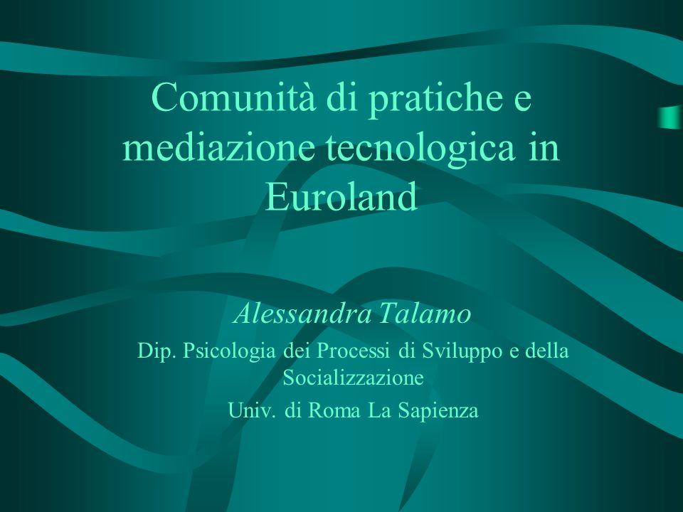 Comunità di pratiche e mediazione tecnologica in Euroland Alessandra Talamo Dip. Psicologia dei Processi di Sviluppo e della Socializzazione Univ. di
