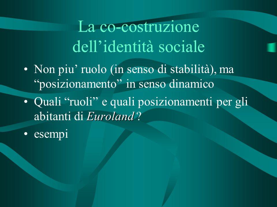 La co-costruzione dellidentità sociale Non piu ruolo (in senso di stabilità), ma posizionamento in senso dinamico EurolandQuali ruoli e quali posizionamenti per gli abitanti di Euroland .