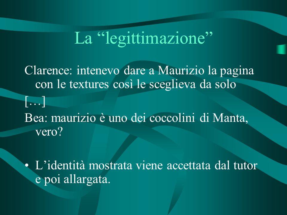 La legittimazione Clarence: intenevo dare a Maurizio la pagina con le textures così le sceglieva da solo […] Bea: maurizio è uno dei coccolini di Manta, vero.