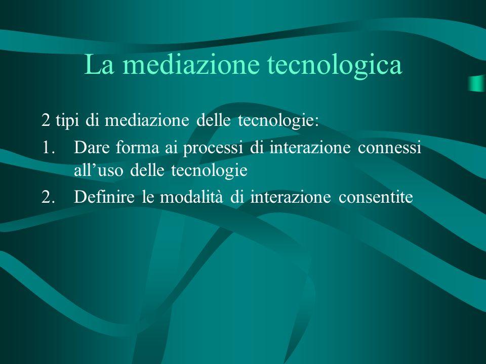 La mediazione tecnologica 2 tipi di mediazione delle tecnologie: 1.Dare forma ai processi di interazione connessi alluso delle tecnologie 2.Definire le modalità di interazione consentite