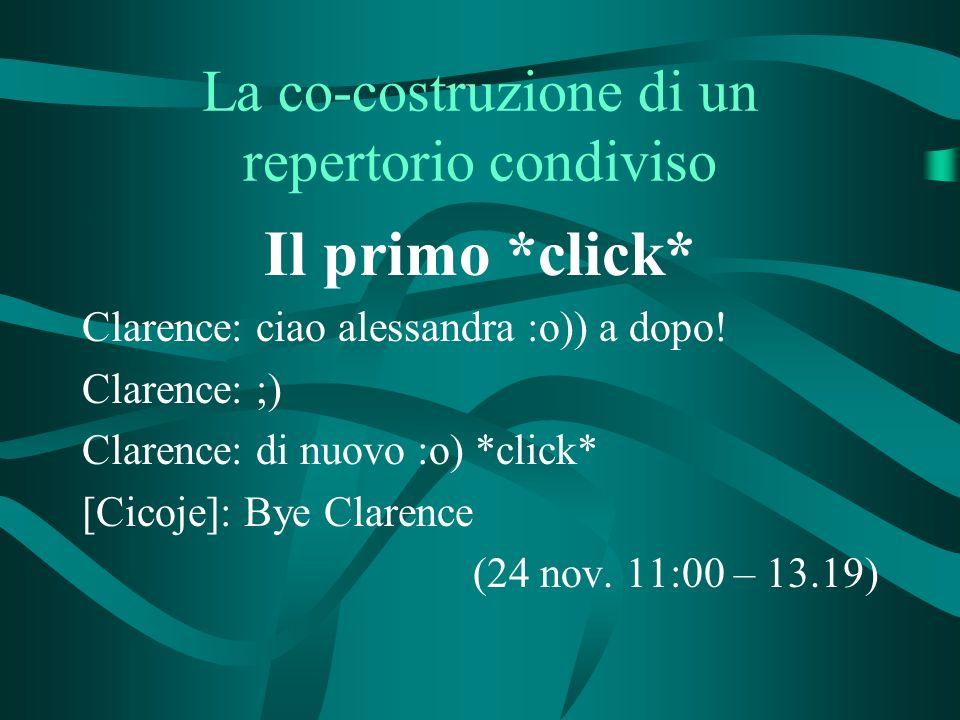 La co-costruzione di un repertorio condiviso Il primo *click* Clarence: ciao alessandra :o)) a dopo.