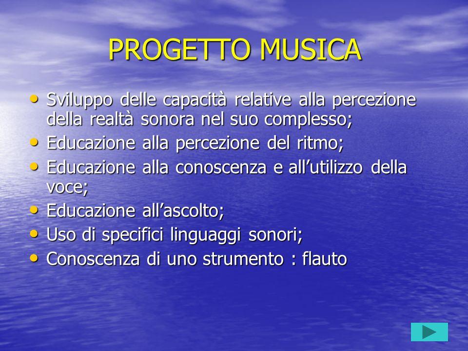 PROGETTO MUSICA Sviluppo delle capacità relative alla percezione della realtà sonora nel suo complesso; Sviluppo delle capacità relative alla percezio
