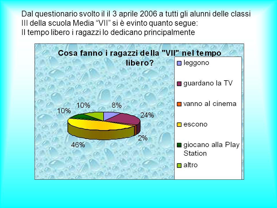 Dal questionario svolto il il 3 aprile 2006 a tutti gli alunni delle classi III della scuola Media VII si è evinto quanto segue: Il tempo libero i rag