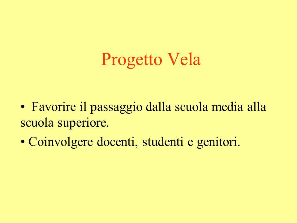 Progetto Vela Favorire il passaggio dalla scuola media alla scuola superiore. Coinvolgere docenti, studenti e genitori.