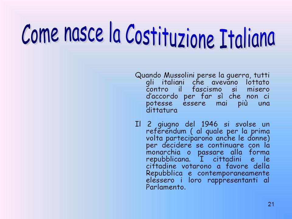 21 Quando Mussolini perse la guerra, tutti gli italiani che avevano lottato contro il fascismo si misero daccordo per far sì che non ci potesse essere