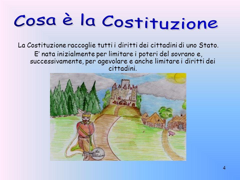 4 La Costituzione raccoglie tutti i diritti dei cittadini di uno Stato. E nata inizialmente per limitare i poteri del sovrano e, successivamente, per