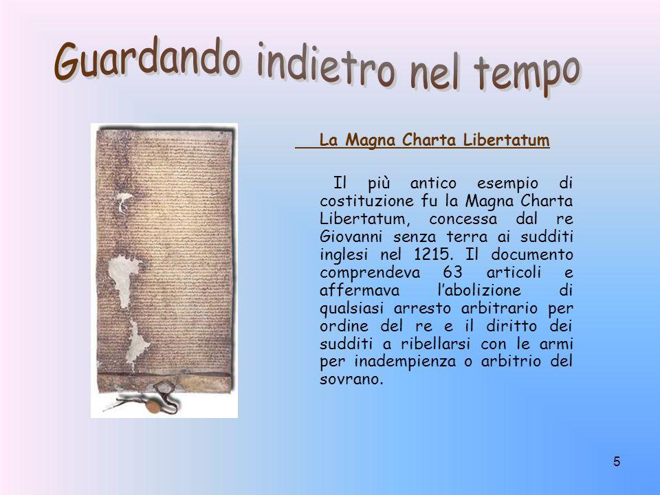 5 La Magna Charta Libertatum Il più antico esempio di costituzione fu la Magna Charta Libertatum, concessa dal re Giovanni senza terra ai sudditi ingl