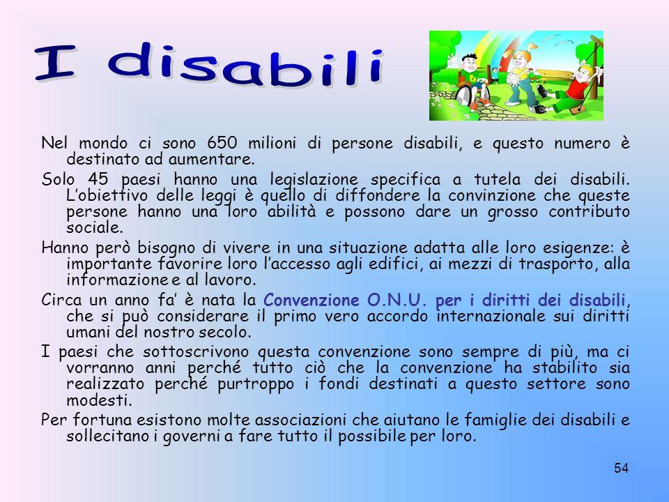 54 Nel mondo ci sono 650 milioni di persone disabili, e questo numero è destinato ad aumentare. Solo 45 paesi hanno una legislazione specifica a tutel