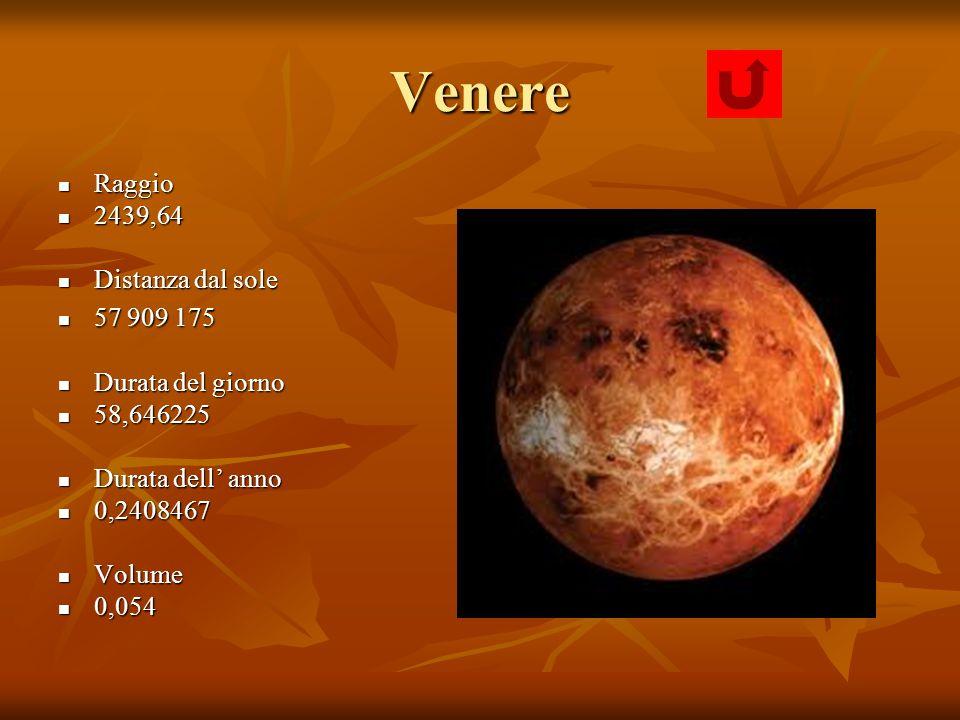 Venere Raggio Raggio 2439,64 2439,64 Distanza dal sole Distanza dal sole 57 909 175 57 909 175 Durata del giorno Durata del giorno 58,646225 58,646225