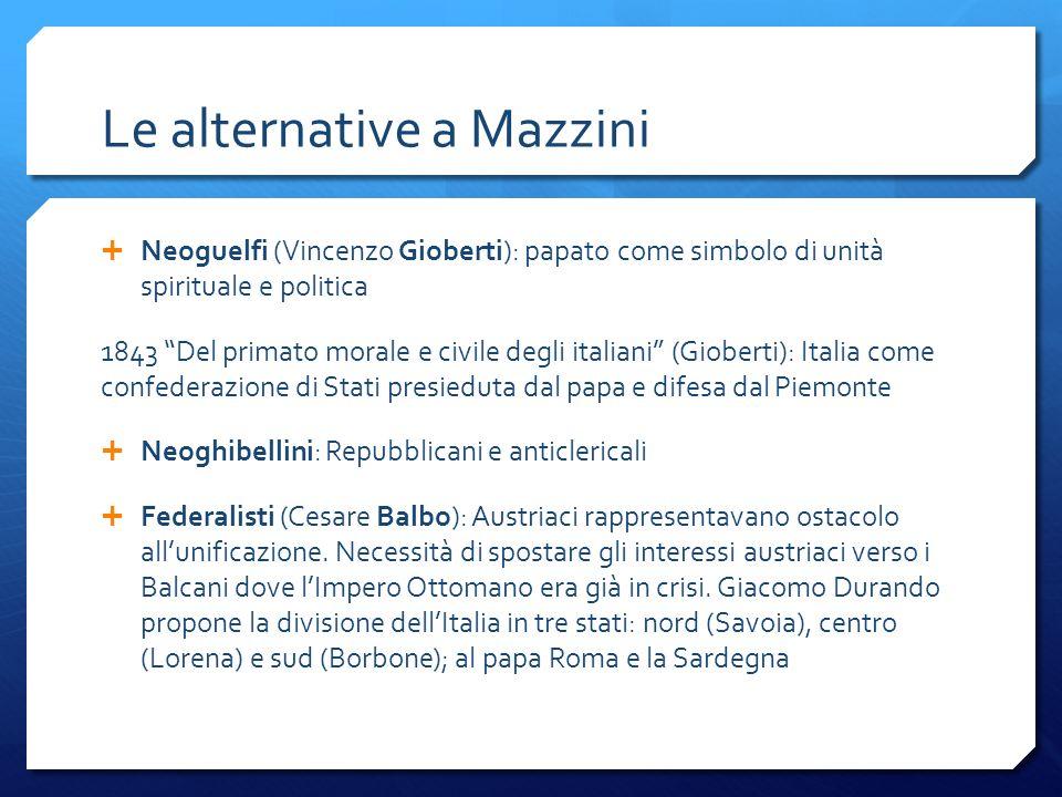Le alternative a Mazzini Neoguelfi (Vincenzo Gioberti): papato come simbolo di unità spirituale e politica 1843 Del primato morale e civile degli ital