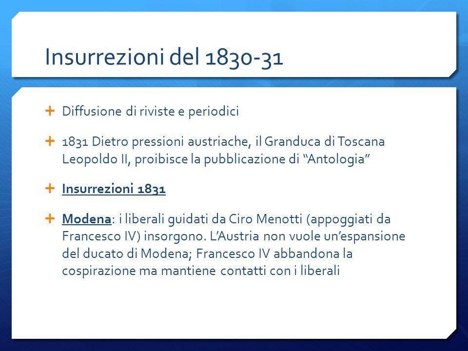 Insurrezioni del 1830-31 Diffusione di riviste e periodici 1831 Dietro pressioni austriache, il Granduca di Toscana Leopoldo II, proibisce la pubblica