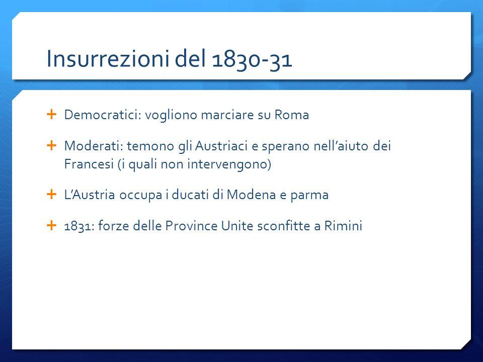 Insurrezioni del 1830-31 Democratici: vogliono marciare su Roma Moderati: temono gli Austriaci e sperano nellaiuto dei Francesi (i quali non interveng