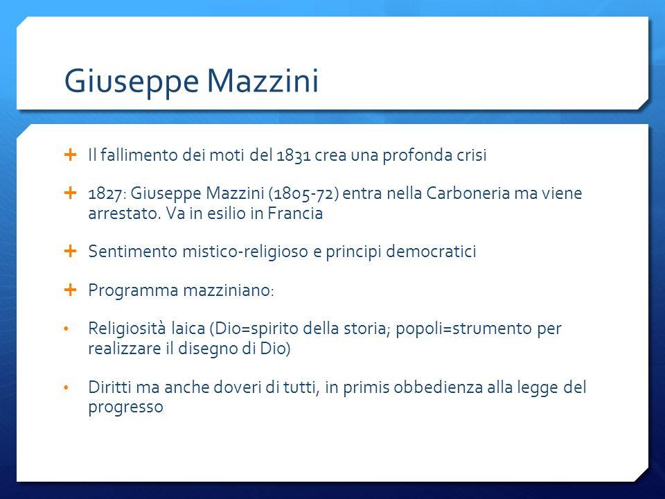Giuseppe Mazzini Il fallimento dei moti del 1831 crea una profonda crisi 1827: Giuseppe Mazzini (1805-72) entra nella Carboneria ma viene arrestato. V