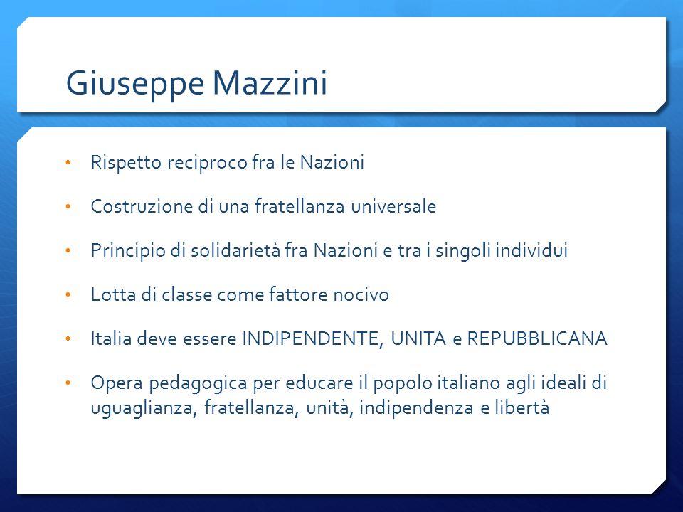 Giuseppe Mazzini Rispetto reciproco fra le Nazioni Costruzione di una fratellanza universale Principio di solidarietà fra Nazioni e tra i singoli indi